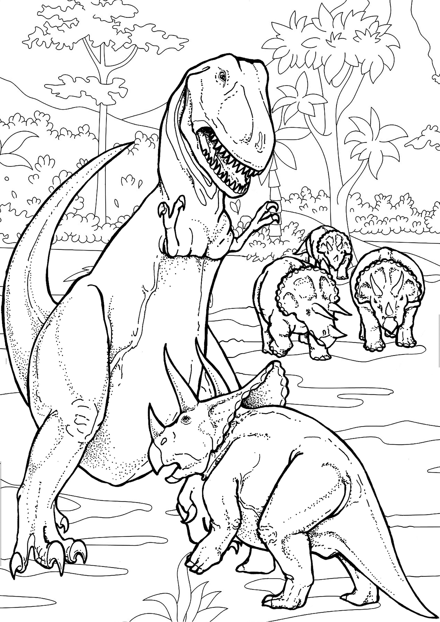 Coloriage T-rex vs Triceratops